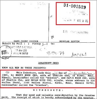 ▲ 조양래회장의 부인 홍문자씨는  1990년 12월 18일 '낸시 문 조'라는 이름으로 하와이 주택을 불법매입한뒤 12월 30일 자신의 지분중 절반을 차남 조현범씨에게 불법무상증여한뒤, 차남 생일인 1991년 1월 7일 등기를 마쳤다.