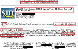 ▲ 2006년 6월 22일자 국가안보국 비밀문서 - 777부대 창설 50주년을 맞아 이 부대의 감청능력등을 설명하고 있다.