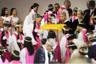 ▲ 통일안식처교회 합동결혼식