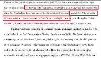 ▲ 반씨측은 2015년 경남기업에 영국은행이 카타르투자청이 에스크로머니를 에치했다는 잔고증명확인서를 위조했으며, 서명도 위조하고, 카타르투자청간부의 허위이메일계정도 만들었다고 시인했다.