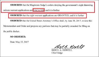 ▲ 워싱턴DC연방법원은 지난해 5월22일 법무부의 단동청태 가압류신청을 기각한 치안판사의 명령을 취소하고, 가압류를 승인했다.