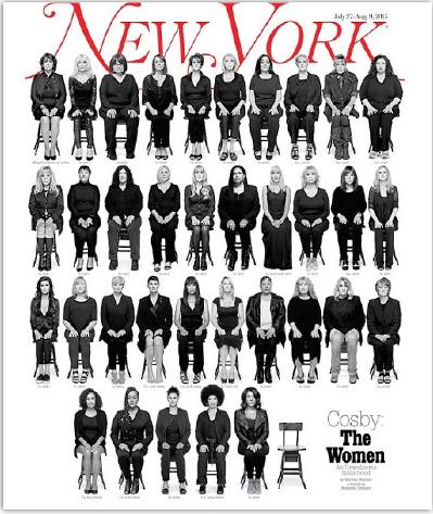 ▲ 뉴욕매거진에서 '코스비: 그 여자들(Cosby: The Women)'이라는 제목으로 빌 코스비에게 성폭행당한 35명의 여성이 나란히 앉아 얼굴을 공개하는 파격적인 표지를 내걸었다.