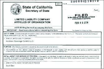▲ 서씨는 지난 2008년 2월 5일 주류면허컨설팅업체 ABC LLC를 설립했다.