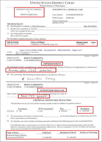 ▲ 시애틀한인업자 해삼불법매입관련 판결문