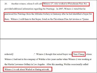 ▲ 연방검찰이 법원에 제출한 서류에 따르면 미술품 중개상인 '증인2'는 '2007년 앤디워홀의 작품 2점을 구매한 한국기업이 '삼창'이었다'고 진술했다.