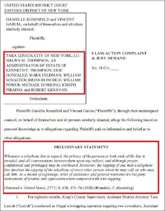 ▲ 리치니 부장검사의 불법도청으로 피해를 입은 스테파니검사의 언니등이 지난달 26일 리니치 부장검사와 뉴욕시등을 상대로 손해배상소송을 제기했으며, 소송원고가 향후 7백명에 달할 것이라고 밝혔다.
