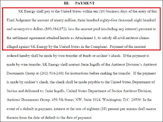 ▲ SK 에너지는 연방법원이 최종판결을 내리면 10일이내에 민사배상금 9038만달러를 납부하기로 합의했다.