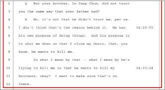 ▲ 전문경씨는 지난해 데포지션에서 '동생인 전인장 삼양식품회장이 나를 믿고 안믿고의 문제가 아니라, 나를 죽이려는 목적을 가지고 있다, 나를 죽이려한다는 것은 비지니스를 망하게 하려는 것'이라고 주장했다.
