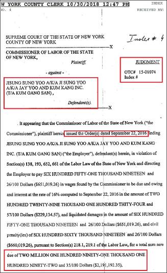 ▲ 뉴욕주 뉴욕카운티법원은 지난 10월 30일, 금강산과 유지성사장이 219만달러를 납부해야 한다는 뉴욕주 노동국의 명령을 정식판결로 인용했다.