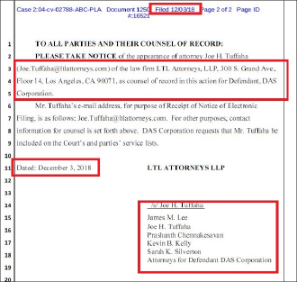 ▲ MB측은 법정모독심리 답변시한인 3일, 답변서는 제출하지 않고 제임스 미첼 리 변호사등의 선임계만 제출했다.