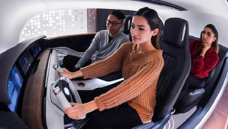 ▲기아차가 세계 최초로 공개한 '감성주행' 차량 R.E.A.D. 시스템