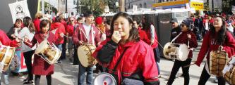 ▲민족학교에서 교사노조 파업을 지지하고 있다.