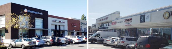 ▲ 본보는 이미 지난 2009년 유회장의 미국내 재산추적을 통해 베버리힐스의 고급콘도, 3가와 버몬트 코너 쇼핑센터와 세리토스의 대형쇼핑센터(파트너 N씨 공동소유)등 최소한 3개의 부동산을 소유하고 있음을 밝혀냈고 현재 이 부동산의 가치는 최소 4500만달러를 넘는다. (좌) 세리토스 쇼핑센터 (우) 3가+베버리 코너 쇼핑센터