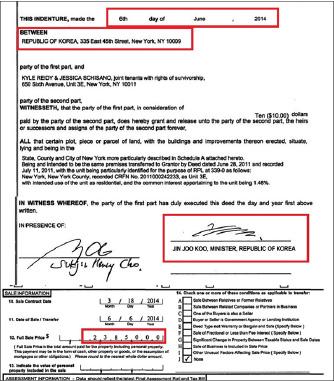 ▲ 한국정부는 뉴욕 맨해튼콘도를 매입 3년만인 지난 2014년 8월 238만여달러에 매도했으며 당시 국정원에서 유엔대표부에 파견된 구진주공사가 서명함으로써, 콘도의 소유주는 사실상 국정원임이 입증됐다.