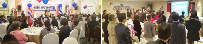 ▲지난달 23일 한시간 간격으로 LA에서 후원회를 가진 박균희 후보(왼쪽)와 남문기 후보