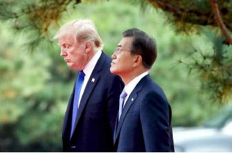 ▲ 2017년 당시 트럼프 대통령과 문재인 대통령간 회담 표정들