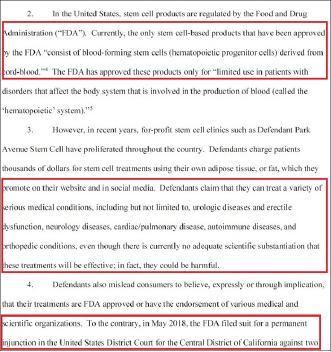 ▲ 뉴욕주 검찰은 파크애비뉴스템셀과 조엘 싱어박사에 대한 소송장에서 연방식품의약국이 승인한 줄기세포제품은 단 1개에 불과하며, 지난해 5월 파크애비뉴스템셀과 제휴관계인 CSN을 상대로 소송을 제기했다고 강조했다.