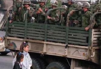 ▲ 폭동진압을 위해 주방위군이 출동했다.