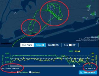 ▲ 플라이트어에워 항로추적 -10시 14분에 항적이 끊겼으며 롱아일랜드 리퍼블릭공항에 착륙하기 위해 계속 선회하고, 존에프케네디공항을 선회했음이 고스란히 드러난다.