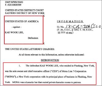 ▲ 연방검찰은 뉴욕 플러싱의 룸싸롱업주 이모씨를 탈세혐의로 기소했다.