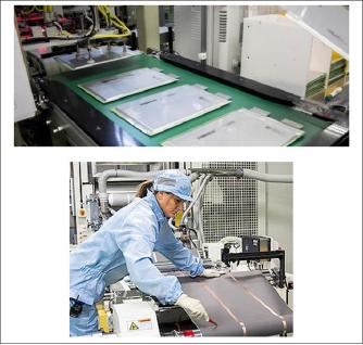 ▲ LG화학 미시건주 홀랜드공장 전기차배터리 생산모습