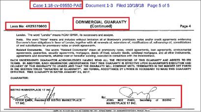 ▲ 노아은행이 52JP사를 상대로 제기한 미상환대출금지급소송에서 증거로 제출한 보증각서에 따르면  비스트로마켓플레이스17이 대출보증을 서준 것으로 확인됐다. 즉 노아은행에서 2백만달러와 220만달러를 빌린 업체들이 서로 맞보증을 서줬고, 이들 업체들이 모두 대출금을 갚지 않은 것으로 드러났다.