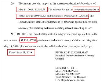 ▲ 연방법무부는 지난달 23일 한인 이모씨를 상대로 제기한 소송에서 이씨가 2017년 5월 벌금부과는 물론 지난해 5월 벌금부과에도 불구하고 이를 납부하지 않았다며 112만여달러와 지난해부터의 이자를 지급하라고 요구했다.