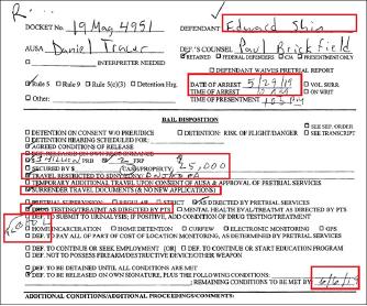 ▲ 지난달 31일 연방법원이 공개한 신응수행장 보석심리관련 문서 - 연방법원은 지난달 30일 보석금 백만달러를 책정하고 백만달러의 재정적 책임을 질 수 있는 보증인 2명과 현금 2만5천달러를 6월 6일까지 법원에 제출하는 조건으로 보석을 승인했으며 특이하게도 음주검사 및 치료를 받으라고 명령했다.