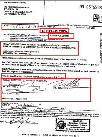 ▲ 남가주한국학원은 지난 1999년 4월 7일 멜로즈중학교부동산일부를 이경진씨에게 무상으로 양도한 것으로 드러났으며, 한국학원을 대표해 안응균 전이사장, 케이송, 보니최등 3사람이  서명한 것으로 확인됐다.