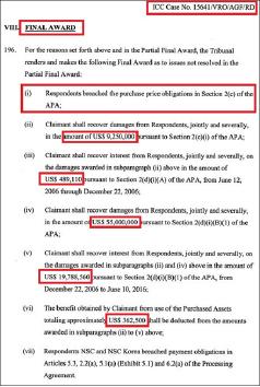 ▲ 국제상사중재원은 8년간의 심리끝에 2016년 6월 14일 누트라스윗은 대상에 1억66만달러상당을 배상하라는 최종판정을 내렸다.