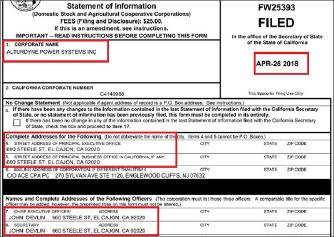 ▲ 알터다인 파워시스탬에 지난 2018년 4월 26일 캘리포니아 주정부에 제출한 법인서류에 따르면 최고 경영자는 존 데블린이며, 존 데블린이 바로 2017년 4월 이메일을 통해 '프라이머시가 강덕원씨 지시에 의해 설립된 것은 물론 강씨지시로 GMB-USA의 자산도 프라이머시로 이전됐다'고 밝힌 당사자이다.
