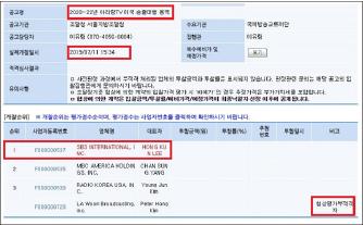 ▲ 서울지방조달청은 지난 7월 12일 아리랑TV미국송촐대행사업 입찰에서  SBS인터내셔널이  낙찰됐다며 웹사이트를 통해 입찰결과를 발표했다.