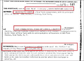 ▲ 1985년 2월 26일 88리얼티 모기지계약서 - 상업은행은 88리얼티가 155만달러에 플러싱 부동산을 매입할때, 매입가 전액인155만달러를 대출해 줬음을 알 수 있다.