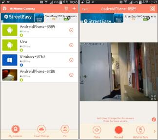 ▲ (왼쪽) 스마트폰에 설치된 앳홈 앱의 모니터화면, 이 앱과 연결된 4대의 CCTV 목록이 나타나고 현재 가동중인 CCTV는 온라인으로 표시돼 있다.▲ 스마트폰에 설치된 앳홈 앱의 모니터화면, 이 앱과 연결된 4대의 CCTV 목록중 온라인으로 표시된 CCTV를 클릭하면 이처럼 동영상이 전송된다.