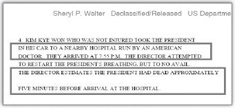 ▲ 글라이스틴-최규하통화 미국무부 비밀전문 : '김계원 비서실장이 박정희 대통령을 미국인 의사가 운영하는 근처병원으로 후송했고 오후 7시 55분 병원에 도착했다'