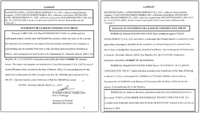 ▲(왼쪽) 양수경, 하와이주법원 소송통해 쇼핑몰가압류 [2015년 3월 11일] ▲ (오른쪽) 양수경, 주법원소송 합의취하로 가압류 해제 [2016년 2월 4일]