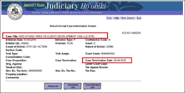▲ 양수경, 하와이주법원 장현수등 상대 소송내역