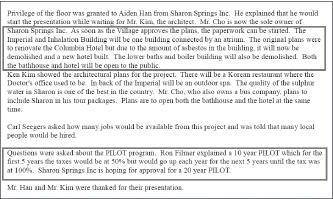 ▲ 2014년 2월 샤론타운 보드미팅회의록 - 조사장측은 당초 보수해서 개장할 예정이던 콜럼비아호텔은 석면이 발견돼 모두 철거하고 재건축하기로 했으며, 20년간 세금감면혜택을 희망한다고 밝혔다