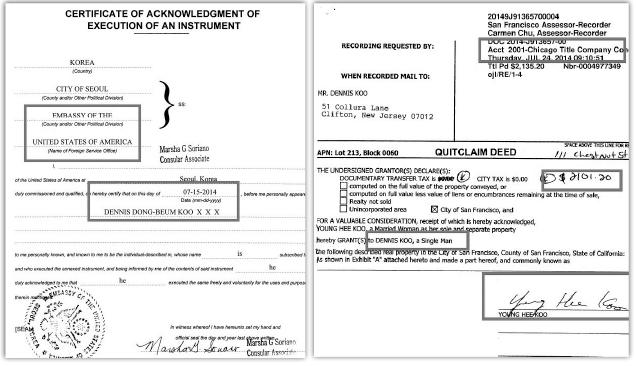 ▲ (왼쪽) 구동범씨가 샌프란시스코콘도 매도계약서 서명에 대해 주한미국대사관 공증을 받을때 데니스 동범 구 라는 이름을 사용, 미국국적포기자와 정확히 일치함이 입증됐다. ▲ 구동범씨의 어머니 구영희씨는 2014년 7월 24일 아들 구동범씨에게 자신의 지분을 30만9천달러에 매도했다.