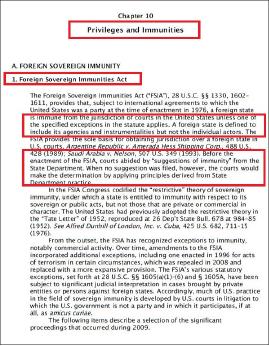 ▲ 미 국무부발간 외교관 특권및 면제 가이드중 FSIA 해설