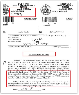 ▲ 2016년 7월 6일 호놀룰루카운티등기소에 등기된 모기지 해제서류