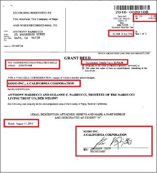 ▲ 사조 미국와이너리 부동산 1개 매도계약서 -2016년 8월 16일 등기, 전재만이 매도자를 대표해 서명했다.