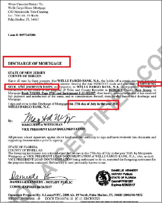 ▲ 웰스파고은행이 반주현 설미영 부부명의의 팰리세이즈팍 주택 구입과 관련한 모기지를 모두 완납했다는 증명서.