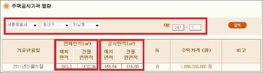 ▲ 홍석현저택 2011년 주택공시가격 산정내역 -전체의 절반정도만 가격산정에 반영됐다.