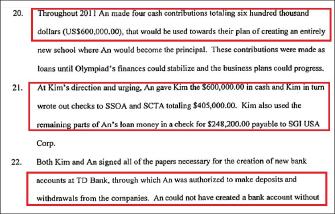 ▲ 2013년 1월 7일 안가희씨측 답변서-안씨는 '나는 2011년 4차례에 걸쳐 김씨에게 현금으로 60만달러를 지급했으며 김씨는 이에 따라 SSOA와 SCTA에 40만5천달러를 지급했고, 안이 빌려준 나머지돈에 대해 24만8200달러를 SGI USA 에 지급했으며 TD뱅크 계좌의 입금및 인출권은 안씨 자신이 가지고 있다'고 주장했다.