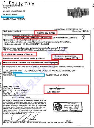 ▲ 김평우변호사의 배우자 한연금씨는 2013년 4월 11일 김변호사가 매입한 베버리힐스 아파트에 대해 가족간 양도서류인 큇크레임디드를 통해 자신의 지분을 김변호사에게 모두 양도했다 - 이 서류를 통해 김변호사의 부인은 김명희씨가 아니라 한연금씨임이 확인된다.