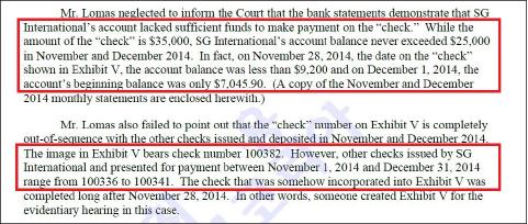 ▲ 시티뱅크가 제출한 SG 인터내셔널 계좌내역에는 2014년 11월과 12월 계좌잔고가 2만5천달러를 넘은 적이 없으며, 이기간중 발급된 수표는 100336-100341로 안씨가 라디오코리아에 빌려줬다고 주장한 3만5천달러짜리 수표100382는 발급된 기록이 없는 것으로 밝혀졌다.