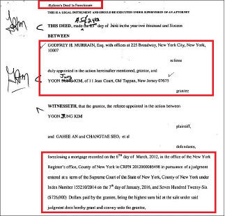 ▲ 안가희씨 부부 콘도가 법원 판결에 의해 압류돼 원고인 김윤정씨에게 소유권이 넘어갔다는 계약서로 2016년 6월 24일 작성돼 2016년 8월 23일 뉴욕등기소에 등기됐다.