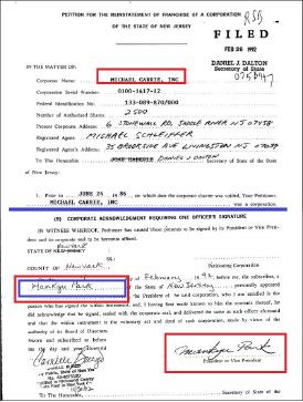 ▲ 뉴저지국무부에 등록된 마이클캐리법인 서류내역 - 박만규가 사장이다.