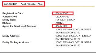 ▲ 캘리포니아주 국무부에 등록된 액티브온인크 법인내역